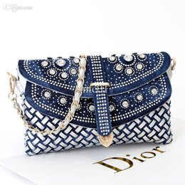 denim clutches Canada - 2015 new women's small knitted handbags denim rhinestone day clutch bag one shoulder cross-body bag chain bags