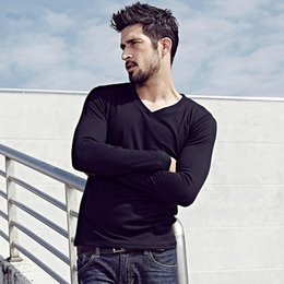 Wholesale crew clothing mens sale for sale – custom Fashion Mens Spring Casual T Shirts Color Long Sleeve Brand Clothing Man s Hot Sale Slim Fit Clothes Tops Tees Plus Size