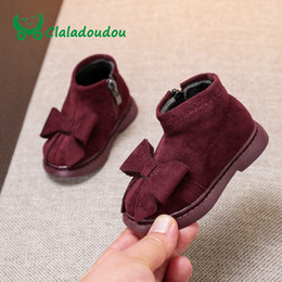 e74136f7dd59 Claladoudou 12-14CM Flock Girls Black Leather Boots Winter Toddler Girl  Shoes Khaki Infant Walking Shoes Baby Boots For Girls