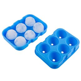 China Large Whiskey Cocktail Ice Cube Maker Food Grade Silicone Ice Cube Tray Mold 6 Holes Big Sphere Ice Mold Home Party Bar Supplies cheap large sphere suppliers
