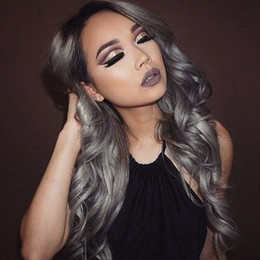 gray lace front human hair wigs NZ - Body Wave Full Lace Wig gray Color With Black Hair Roots Human Hair with Baby Hair For Black Women