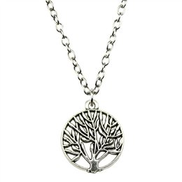 $enCountryForm.capitalKeyWord Australia - WYSIWYG 5 Pieces Metal Chain Necklaces Pendants Vintage Necklace Handmade Small Size Round Tree 18mm N2-B13281