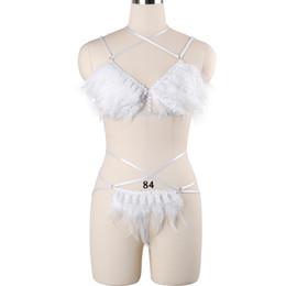 7b152984e3c28 Women Exotic Apparel Feather Bondage Harness Set Goth Punk Rave Body Harness  Fetish Crop Top Cage Bra Pole Dance Sexy Lingerie