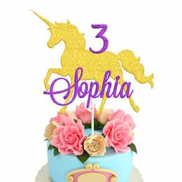$enCountryForm.capitalKeyWord Australia - Large Unicorn Cake Topper Custom Unicorn Name Cupcake Topper Personalised 1st Bithday Baby Shower Party Glitter Gold Purple