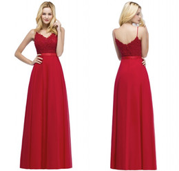 2018 New Arrival Designer Evening Prom Dresses Red Spaghetti Straps Beaded Top Chiffon Long Party Gowns CPS871 on Sale