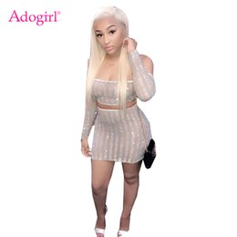 Sexy woman Strip online shopping - Adogirl Strip Sequins Sheer Mesh Women Two Piece Set Sexy Slash Neck Off Shoulder Long Sleeve Crop Top Mini Skirt Club Outfits