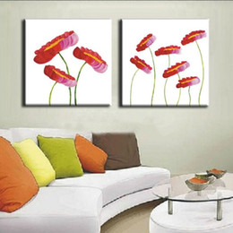 Flower Oil Paintings Australia - Modern Wall Flowers Picture Home Decor Art Hand-painted Abstract Lotus Flower Oil Painting Handmade Canvas Red Floral Paintings