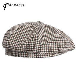 20c71010fee0ff Fibonacci 2018 New Autumn Winter Hats Vintage Houndstooth Beret Women Cap  Ladies Cotton Hat Headwear Berets
