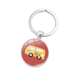 Peace rings online shopping - New Vintage Hippie Peace Sign Van Bus Keychain Fashion Men Women Purse Bag Car Pendant Key Chain Ring Holder Jewelry ss aa