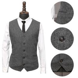 $enCountryForm.capitalKeyWord Australia - 2019 Navy blue New Wedding Groom Vests Wool Single breasted Herringbone Tweed Vests Groomsmen Vest Mens Suit Vests Waistcoat Plus Size