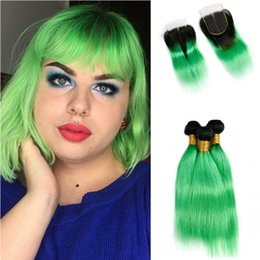 $enCountryForm.capitalKeyWord NZ - Two Tone 1b Green Straight Hair Weaves With Top Closure Free Part Ombre Color 1B Green Hair 3Bundles With Lace Closure