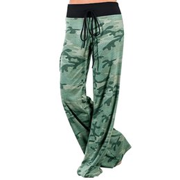 Camouflage Yoga Pants Canada - CALOFE Brand Loose Camouflage Wide Leg Pants Women Patchwork Boot Cut Pant High Waist Elastic Lace Up Fitness Dancing Yoga Pant