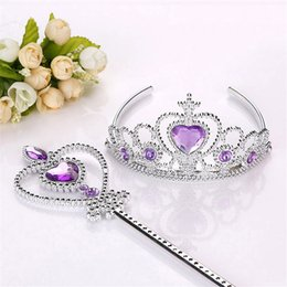 Wigs for kids online shopping - 2018 cosplay Headwear set Crown Wig Wand Gloves Party Dress Up costume for kids Princess christmas Party Accessories DHL OTH633