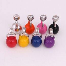 kettlebell jewelry Australia - Mix Order Colorful Spray Paint Sports Kettlebell Pendant Fitness Bodybuilding Exercise For Men Women Inspirational Jewelry Accessory Gifts