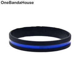 glow party decorations UK - 1PC Simple Decoration Blue Line Logo Silicone Rubber Fashion Wristband Soft And Flexible Black Adult Size