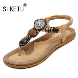 $enCountryForm.capitalKeyWord NZ - 2017 New Korean Comfortable Women Sandals Bohemian String Bead Clip Toe Flat Shoes Sandals Shoes 35-42 SIKETU Brand