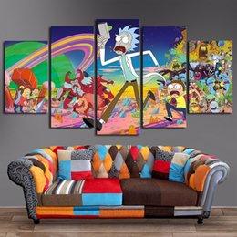 Рик и Морти ТВ-шоу плакат 5шт, современный абстрактный холст картины маслом HD печати стены искусства декора для гостиной украшения дома в рамке / Unframe на Распродаже