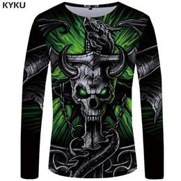 11c3bdf78 dragon skull t shirts 2019 - KYKU Brand Skull T shirt Men Long sleeve shirt  Green