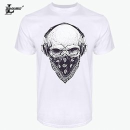 Discount headphones shirt - Lei-SAGLY 2018 Mens T Shirts Fashion Skull With Headphones Design Short Sleeve Casual Tops Hipster Vintage Printed Cool