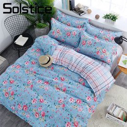 Wholesale Solstice Home Textile King Queen Full Bedding Suit Flower Peony Blue Duvet Cover Sheet Pillowcase Girl Adult Woman Bed Linen Set
