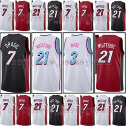 e88a73b495c Men s MIAMI 3 Dwyane Wade 21 Hassan Whiteside the city jersey 7 Goran  Dragic Basketball Jersey Stitched Jerseys Free Shipping