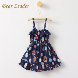 clothes for bears Australia - Bear Leader Girls Dress 2017New Summer Children Clothing Icecreams Print Dress Casual Style Harness Dress Kids Clothes For 3-8