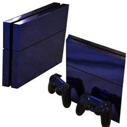 Etiqueta de galvanização do cromo lustroso azul da pele do PVC do vinil para o console de Sony PS4 PlayStation4 e 2 controladores