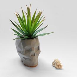 Discount cement pots - Silica gel Geometric Skull flower pot molds Concrete pot silicone molds concrete holder cement moulds