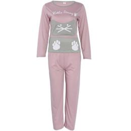 437126ab22 Schlafanzug katze drucken online-Frauen Langarm Cartoon Katze Print Tops  Rosa Hosen Pyjamas Set Nachtwäsche
