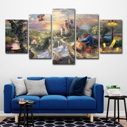 $enCountryForm.capitalKeyWord NZ - Modern Canvas Wall Art Home Decor For Living Room HD Printed Poster 5 Pieces Cartoon Castle Beauty And Beast Film Painting