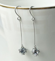 Number Blocks Canada - new hot European and American fashion exquisite jewelry lady zircon long block and cube shiny earrings fashion classic exquisite