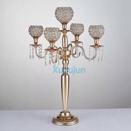 gold wedding candelabra wholesale Australia - 80 cm height 5-arms metal Gold  Silver candelabras with crystal pendants wedding candle holder Event centerpiece
