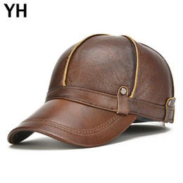 b07bf65672c 2018 Brand Men Real Genuine Leather Baseball Cap Fashion Autumn Winter Real Cow  Leather Hat Cowhide Baseball Caps