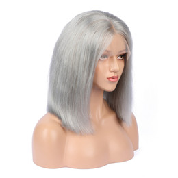 Chinese  Human Hair Wig Gray Front Lace Wigs Grey Full Lace Wig Glueless Human Hair Wig Peruvian Virgin Hair For Black Women manufacturers