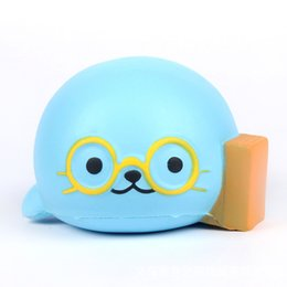 Jumbo 15 cm Blue Whale Doctor Squishy Squeeze Súper Suave gafas perfumadas Slow Rising Stress Reliever Toy Kids regalo
