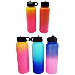 China Ombre Outdoor Water bottle 40oz Sport Insulated Stainless Steel Water Bottle Wide Mouth Gradient Water Bottle Filp Lids With Straw Free Ship suppliers
