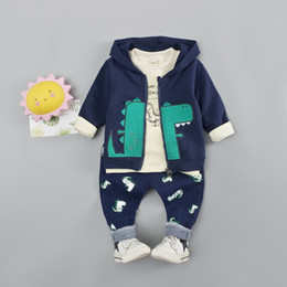 suit baby sets autumn 3pcs NZ - 3PCS Boys Clothing set Cotton Spring Hoody Baby Clothes Autumn Casual Dinosaur Outfits Infant Sportwear Kids Suit Costume