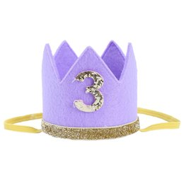 $enCountryForm.capitalKeyWord UK - FBIL-2018 Fashion Baby Boy Girl First Birthday Hat Crown Numbers Headband Tiara Party Photo Props purple 3