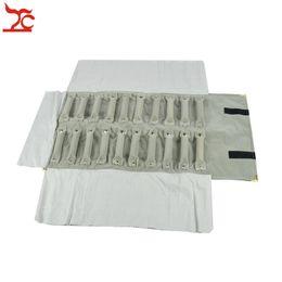 China Newest Luxury Metal Corner Grey Black Velvet Jewelry Display Storage Pouch Ring Jewelry Organizer Travel Roll Bag 29*10cm suppliers