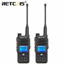 Dual Band Uhf Vhf Portable Australia - 2pcs Retevis RT82 Dual Band Digital Walkie Talkie VHF UHF (GPS) IP67 Waterproof Portable Ham Radio Amador Hf Transceiver DMR