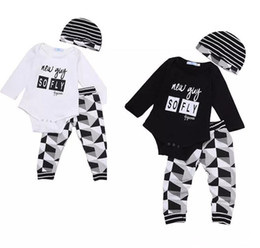 ddced4e7f6 fashion Baby Boy Girl sets Kids Newborn Infant new guy so fly funny letter  printed Romper+pants+Hat bodysuit Outfits top Clothing Set 3pcs B