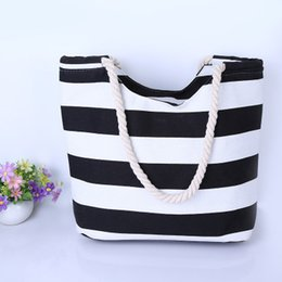2018 Explosion Models Simple Fashion Wild Korean Canvas Bag Striped Canvas  Handbags Candy Color Shopping Bag 4e29b0385b209