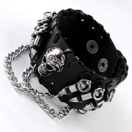 $enCountryForm.capitalKeyWord NZ - Ayliss Men's Black PU Leather Wristband Adjustable Skull Metal Chain Bracelet Punk Biker Rock Gothic 1pc Cool Bracelet