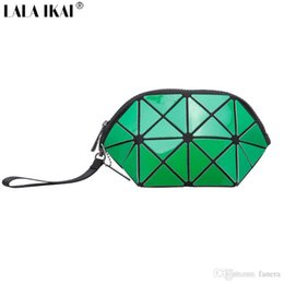 gold make up bag 2019 - Wholesale- LALA IKAI famous Brand Plaid Wristlets 2016 Women Leather Make Up Bag New Design Casual Coin Purse Girls Smal