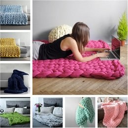 thick warm blankets 2018 - Hot sale High-quality Warm Chunky Knit Blanket Thick Woven Yarn Wool carpet Bulky Knitted Sofa Blanket T3I0063 cheap thi