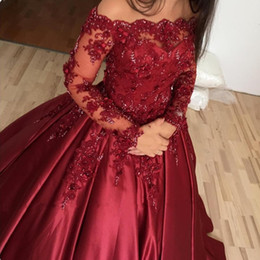 $enCountryForm.capitalKeyWord NZ - 2019 Burgundy Dark Red Ball Gown Wedding Dresses Off Shoulder Long Sleeves Satin Lace Appliques Flowers Beaded Plus Size Formal Bridal Gowns