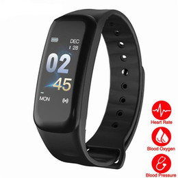 Sleeping Monitor NZ - C1s Smart Bracelet Color-screen Fitness Tracker blood pressure Heart Rate Monitor sleep tracker Wristband For Android IOS