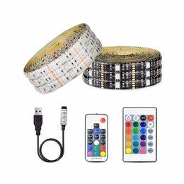 tape usb 2019 - DC 5V 5050 SMD RGB USB LED strip Light Ribbon tape 1M 2M 3M 4M 5M USB charger LED lamp 3key 17key 24key RGB remote contr
