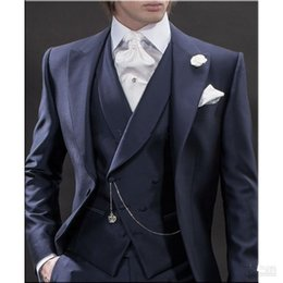 $enCountryForm.capitalKeyWord NZ - New Design Morning style Navy Blue Groom Tuxedos Groomsmen Men's Wedding Suits Best man Suits (Jacket+Pants+Vest+Tie) 165