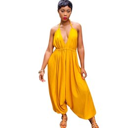 Wholesale Women Backless Halter Jumpsuit Casual Long Rompers Harem Pants Sexy V neck Loose Jumpsuit Club Party Overalls Combinaison Femme